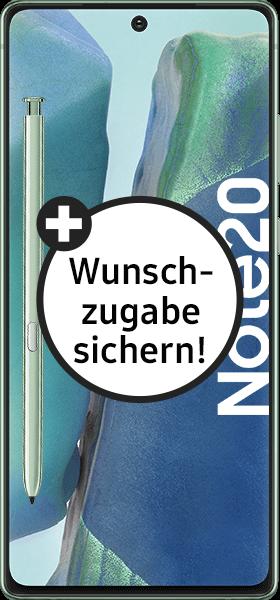 PremiumSIM LTE XL + Samsung Galaxy Note20 4G 256GB Mystic Green – 50,99 EUR monatlich