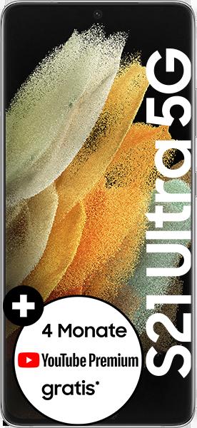 PremiumSIM LTE XL + Samsung Galaxy S21 Ultra 5G 128GB Phantom Silver – 55,99 EUR monatlich