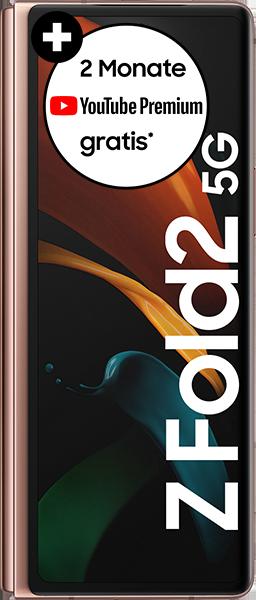 PremiumSIM LTE XL + Samsung Galaxy Z Fold2 5G 256GB Mystic Bronze – 72,99 EUR monatlich