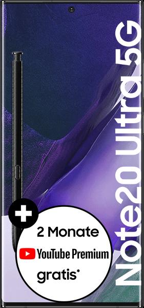 PremiumSIM LTE XL + Samsung Galaxy Note20 Ultra 5G 256GB Mystic Black – 58,99 EUR monatlich