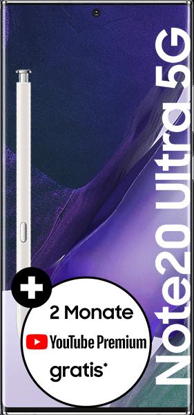 PremiumSIM LTE XL + Samsung Galaxy Note20 Ultra 5G 256GB Mystic White – 58,99 EUR monatlich